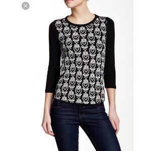 J Crew black w/white embroidery Tee shirt